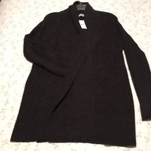 Loft shawl collar pointelle open front cardigan M